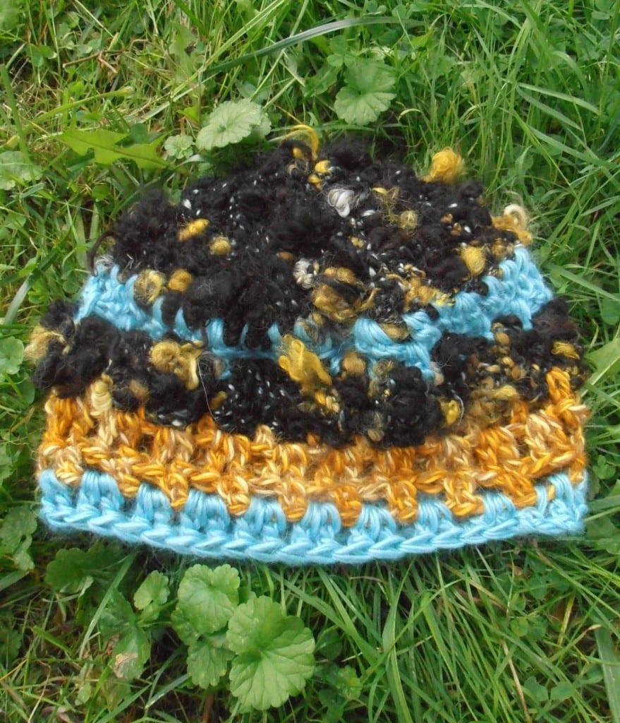 Hand-Crocheted Alpaca Hat, Aqua, Gold, Black